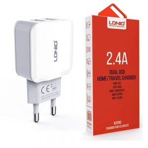 شارژر 5 ولت 2.4 آمپر با دو خروجی USB محصول LDNIO مدل A2202