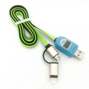 کابل شارژر موبایل اندروید و آیفون با نشانگر ولت و آمپر درگاه USB
