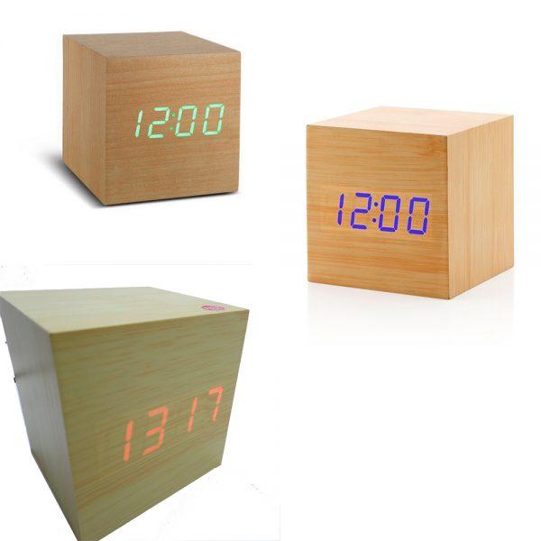 ساعت و دماسنج مکعبی کیمیت رومیزی طرح چوب