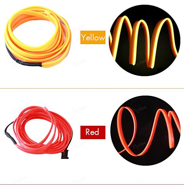 چراغ ال وایر خودرو EL Wire رنگ سفید 2 متری