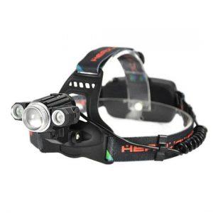 چراغ قوه پیشانی - هدلایت شارژی 3 لامپه چرخان با چراغ اضطراری