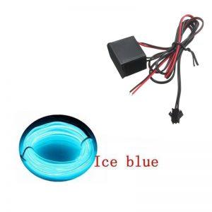 چراغ ال وایر خودرو EL Wire رنگ Ice Blue-آبی یخی 2 متری