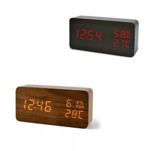 ساعت،دماسنج ورطوبت سنج کیمیت مستطیلی طرح چوب
