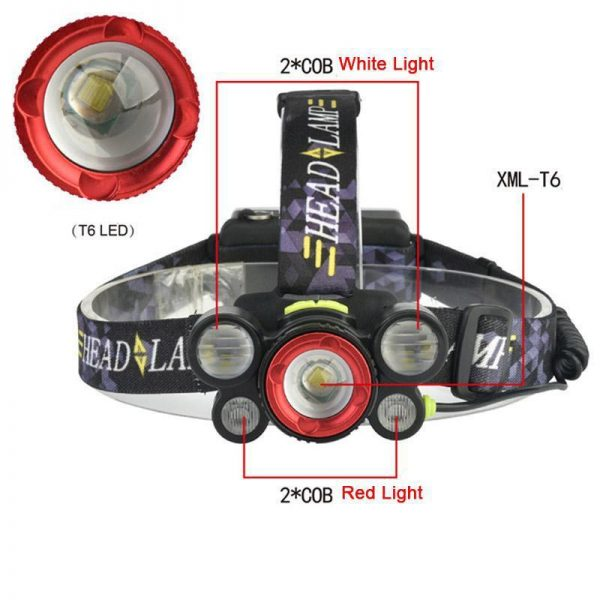 چراغ قوه پیشانی - هدلایت شارژی 5 لامپه HeadLight مدل 8816