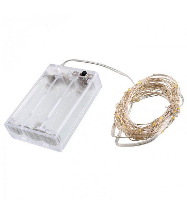 ریسه میکرو LED مفتولی 10 متر سفید آفتابی نوع باتری قلمی
