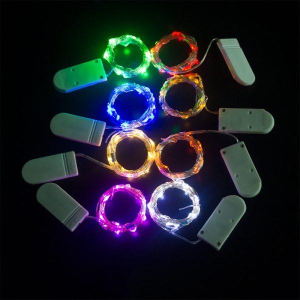 ریسه میکرو LED مفتولی 2 متر سفید آفتابی نوع باتری سکه ای