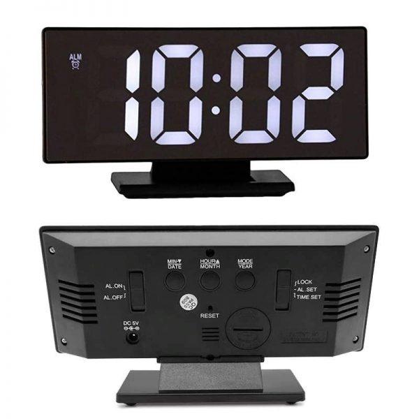 ساعت و دماسنج دیجیتالی رومیزی آینه ای پایه دار