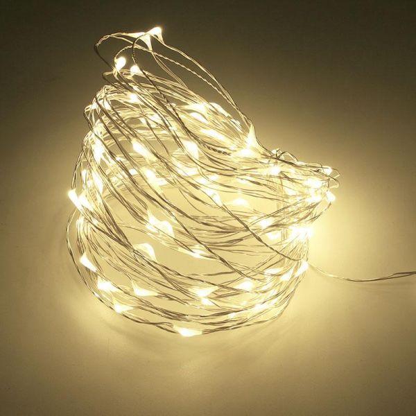 ریسه میکرو LED مفتولی 5 متر سفید آفتابی با تغذیه برق شهری