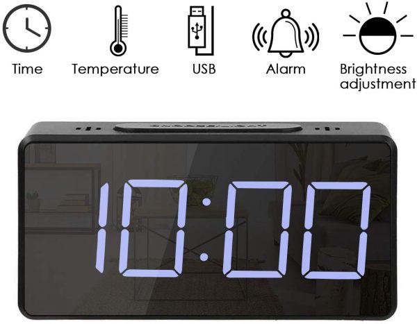 ساعت و دماسنج دیجیتالی رومیزی آینه ای کوچک